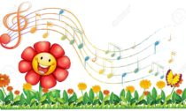 18716754-Illustration-of-a-red-flower-in-the-garden-with-musical-notes--Stock-Photo