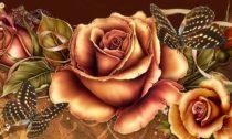 Copper Autumn Summer Flowers Butterflies Fall Floral Rose Roses Wallpaper Flower Bouquet